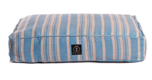 classic stripe dog bed with insert, blue small