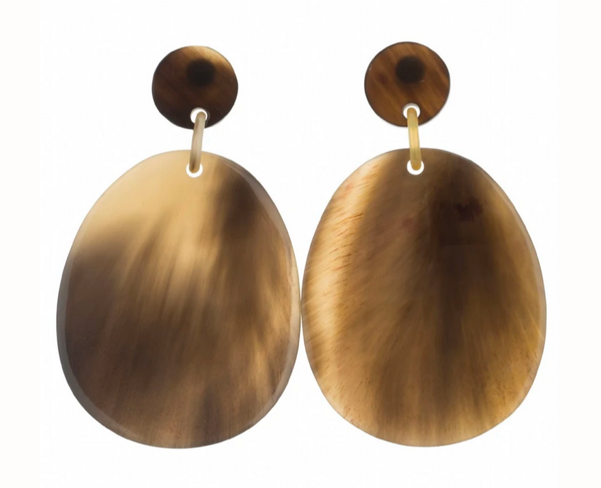 Vivo Buffalo Horn Large Flat Oval Earring