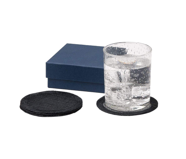 June Dark Navy Round Coasters
