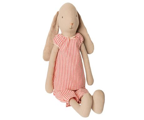 Maileg Bunny in Red Striped Pajamas, Size 4
