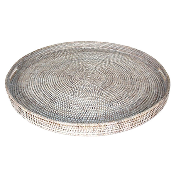 Round Tray, White Washed