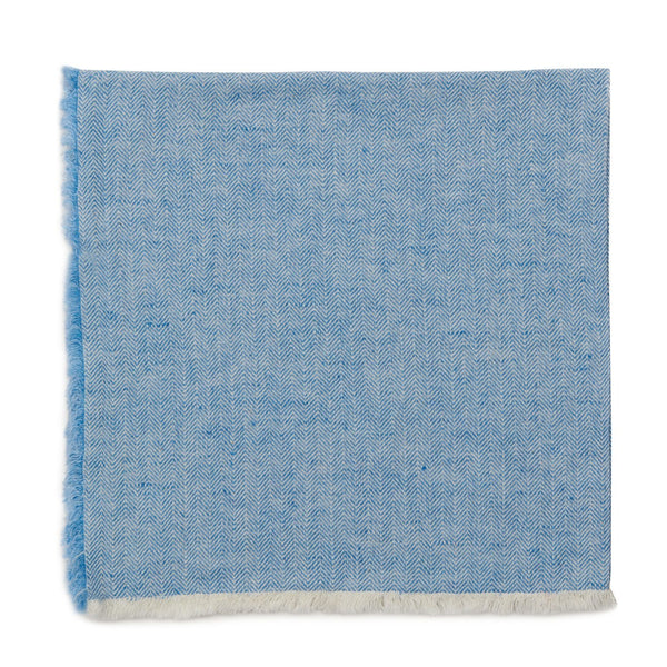 deborah rhodes herringbone fringe napkin set of 4, colony blue