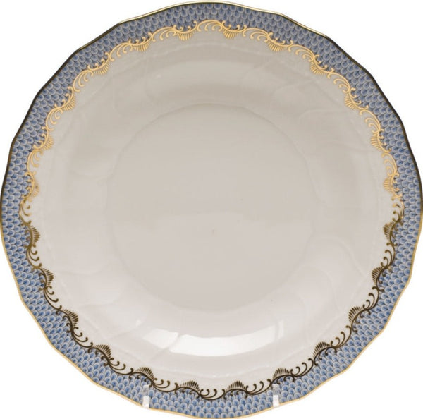 Herend Fish Scale Dessert Plate, Light Blue 8.25""