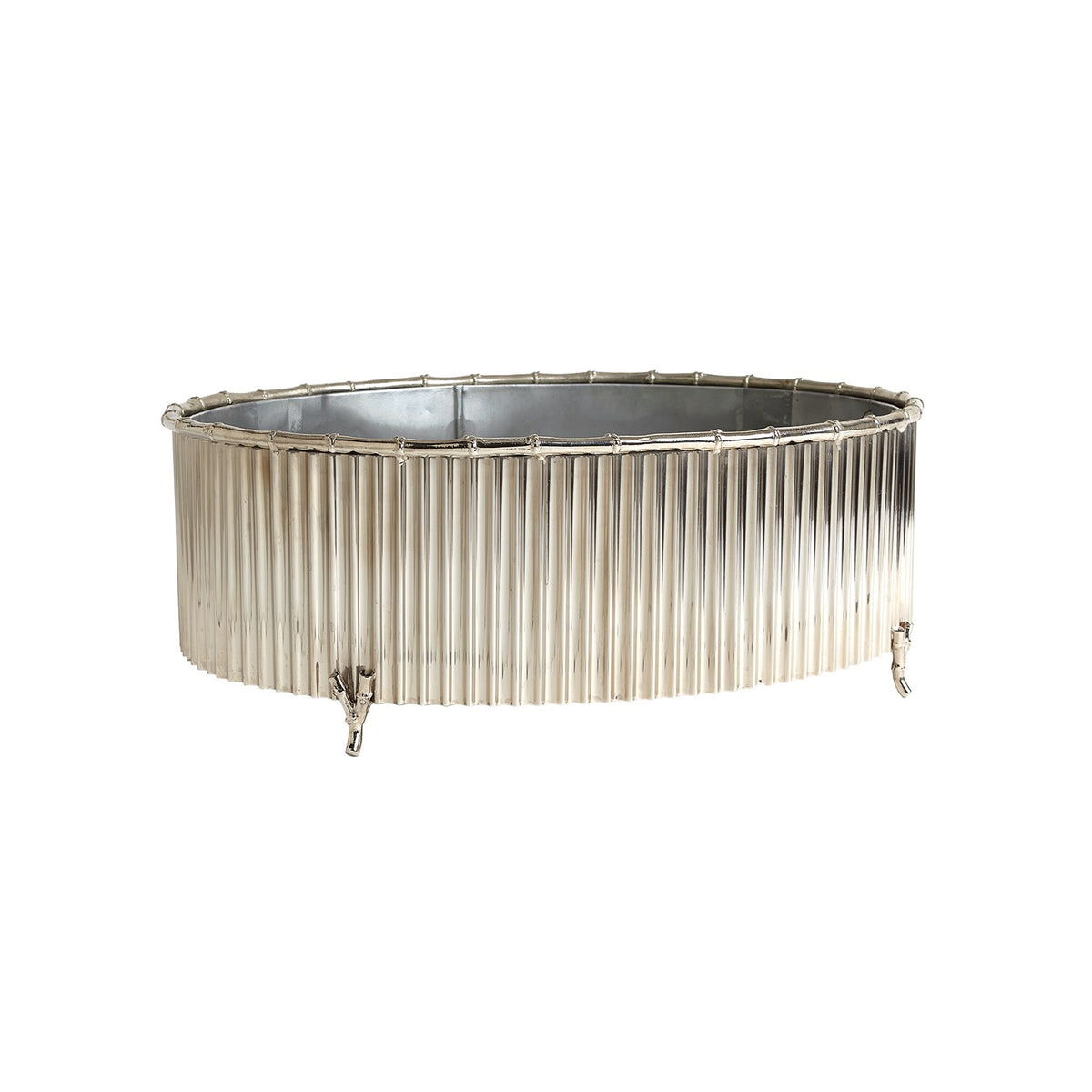 Corrugated Bamboo Cachepot, Nickel