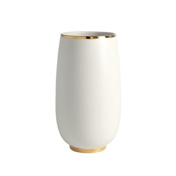 Gold Rim White Bulb Vase, Large