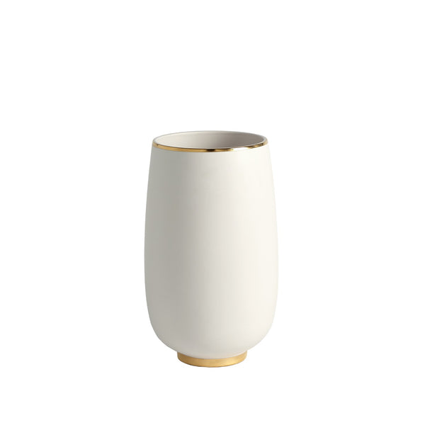 Gold Rim White Bulb Vase, Medium
