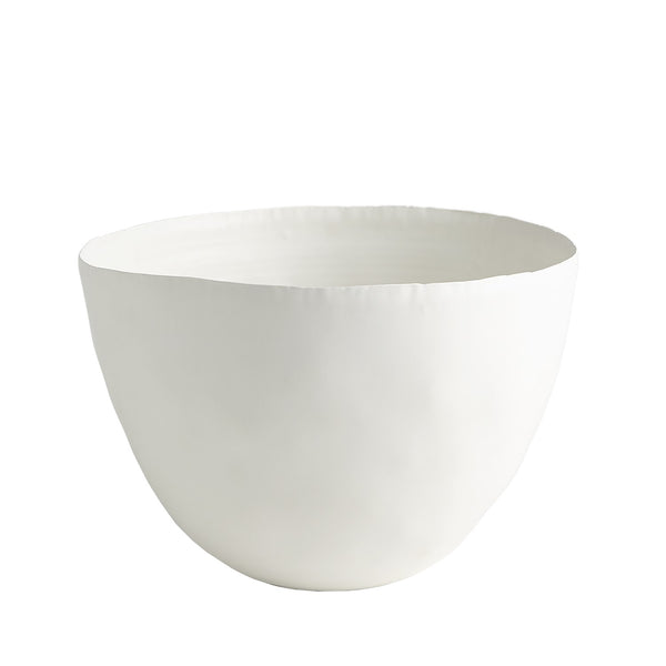 Deckled Edge Oval Bowl, Matte White