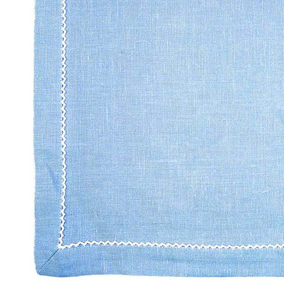 Linen Napkins, Cool Blue/White Pico Edge