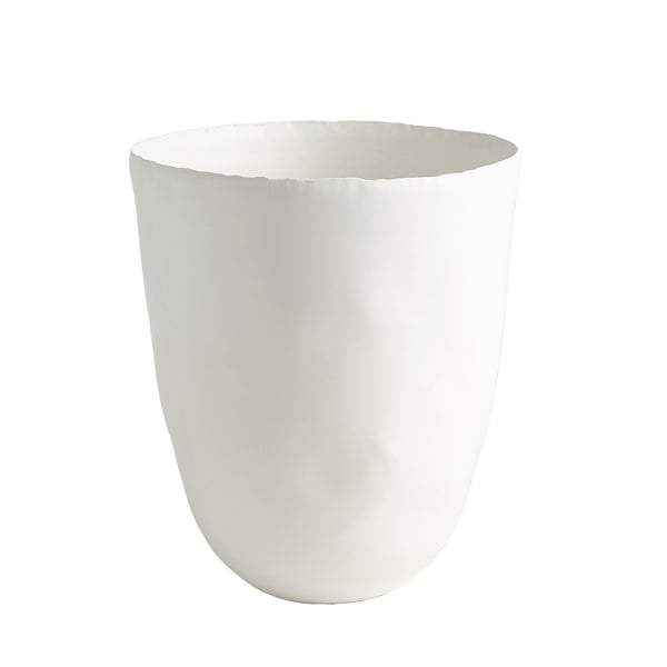 Deckled Edge Vase, Matte White