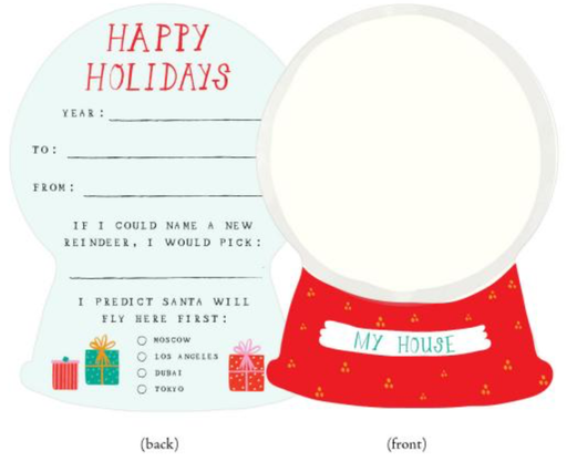 Mr. Boddington Holiday - My House in a Snow Globe, Holiday Card Set of 6