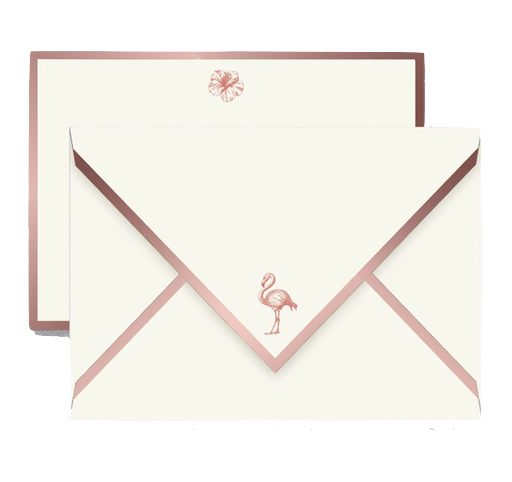 Crane - Engraved Flamingo and Hibiscus Rose Gold Foil Bordered Cards and Envelopes