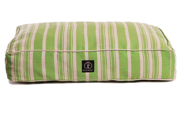 Green Classic Stripe Dog Bed with Insert, Medium