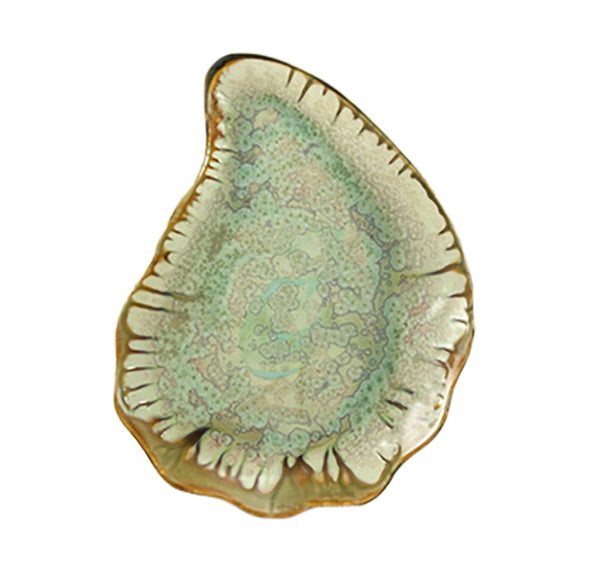 Large Oyster Plate in Mint and Tortoise