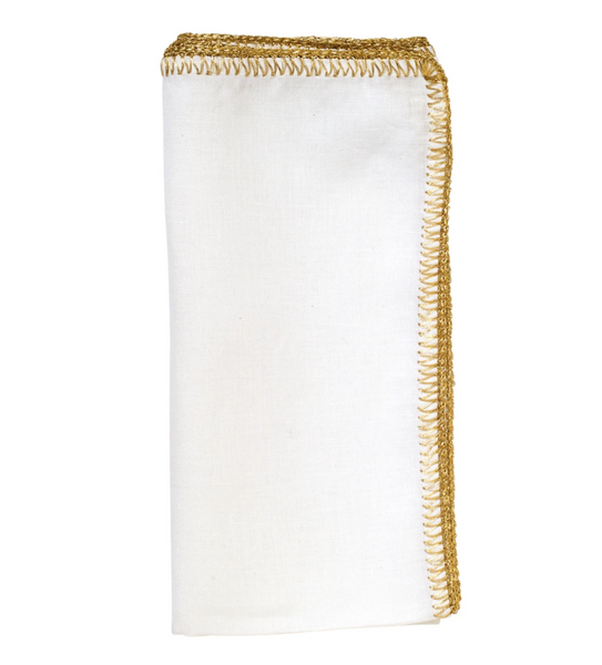 Crochet Edge Napkin, White/Gold