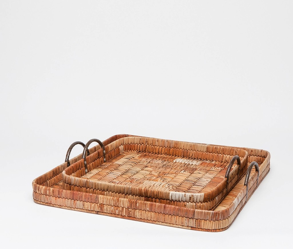 Square Woven Rattan Tray, Large