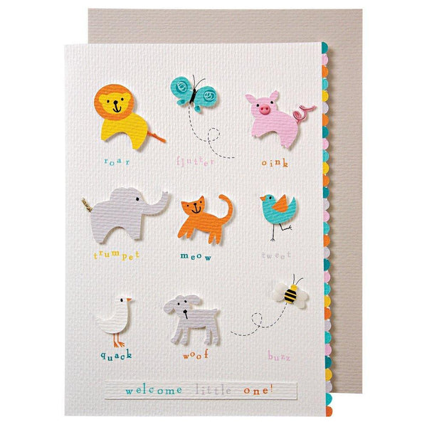 congratulations on your little one - animals with sounds card