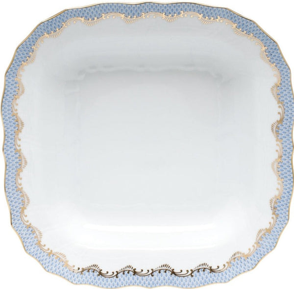 Herend Fish Scale Square Fruit Dish, Light Blue 11""