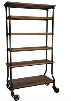 Natural Wood with Metal Frame Bookcase on Wheels
