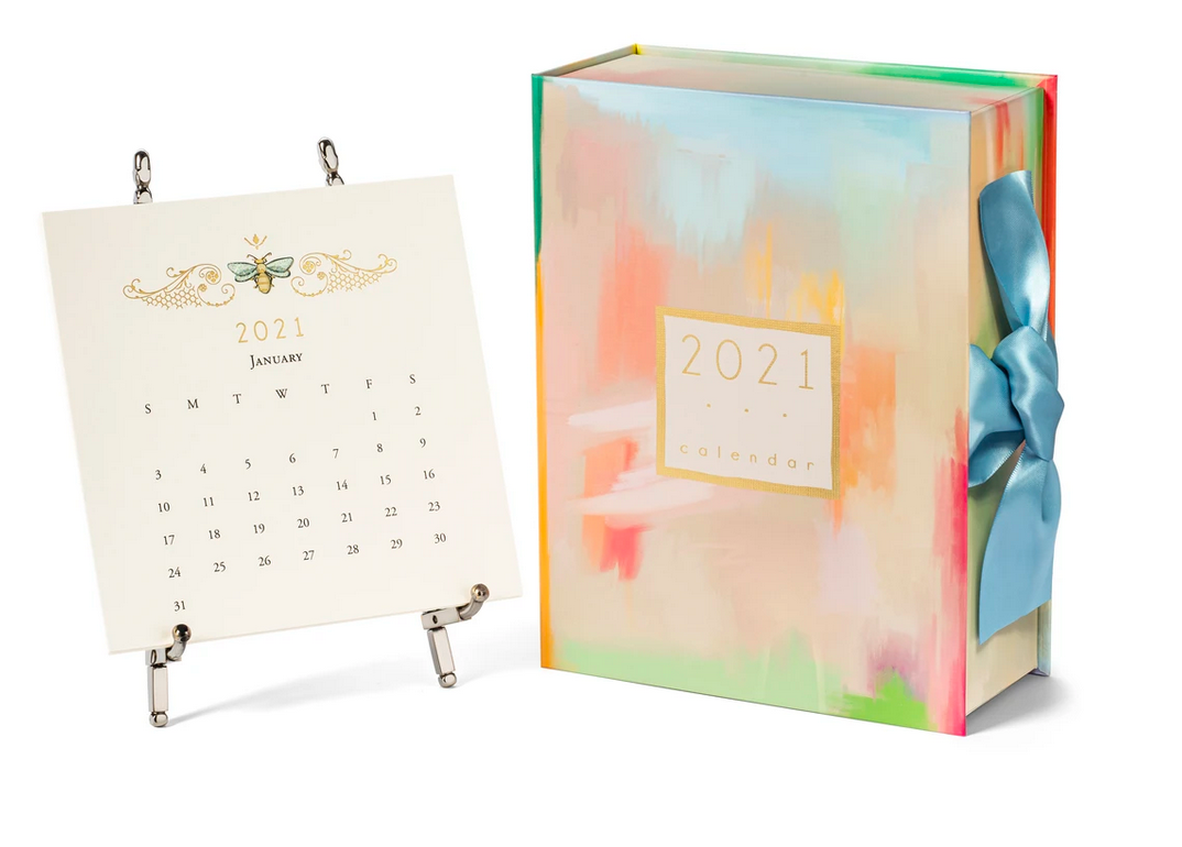 2021 desk calendar with silver easel