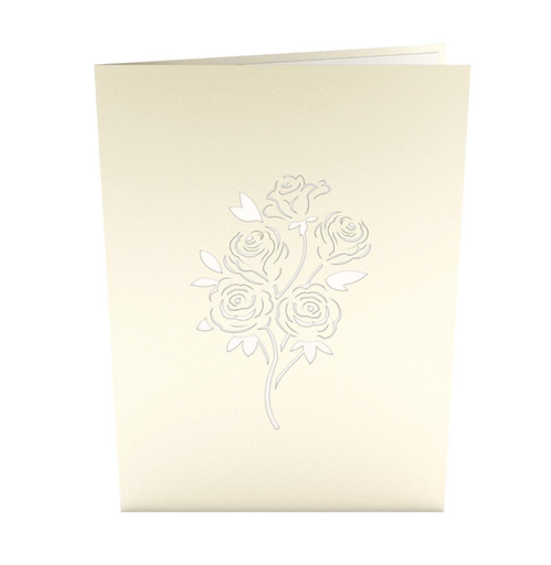 Pop Up Card, Rose Bouquet White