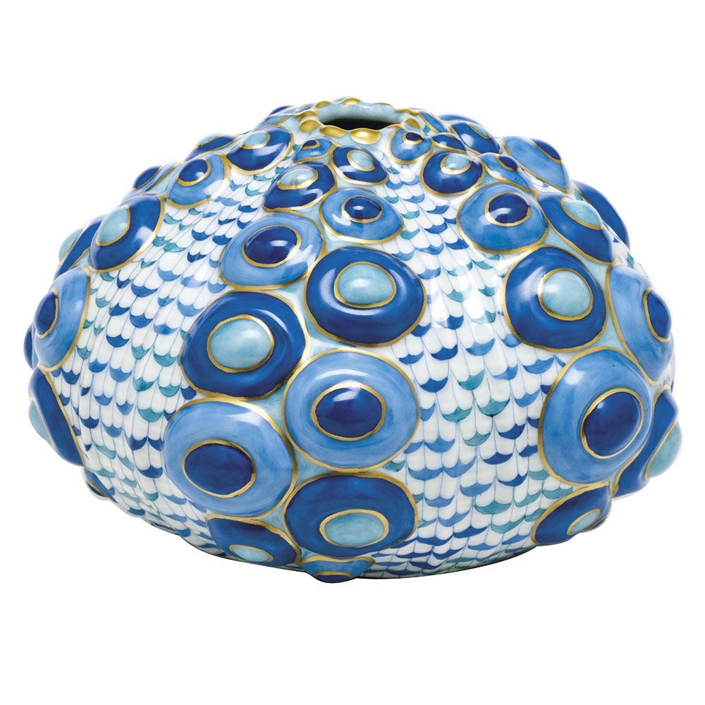 Herend Large Sea Urchin, Blue Multicolor