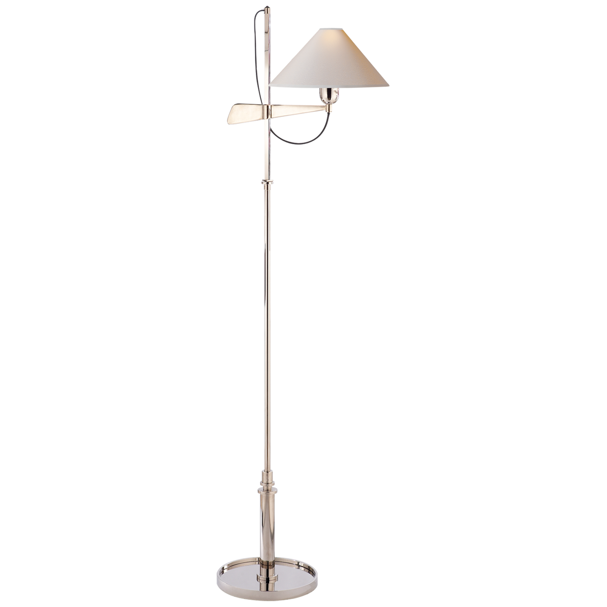 Hargett Bridge Arm Floor Lamp in Polished Nickel with Natural Paper Shade