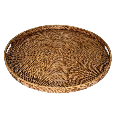Round Tray, Antique Brown