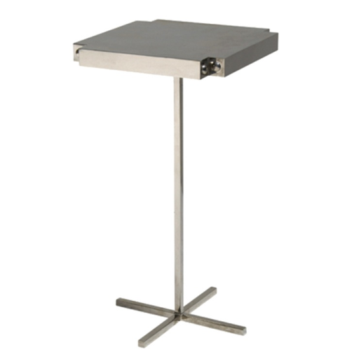 polished nickel plated side table with corner detail
