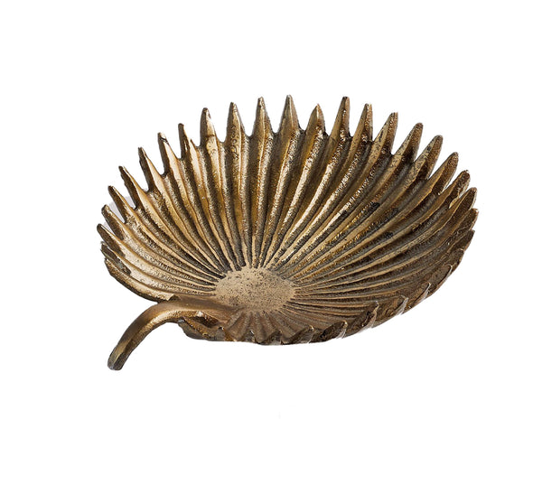 antique gold decorative palm dish, large