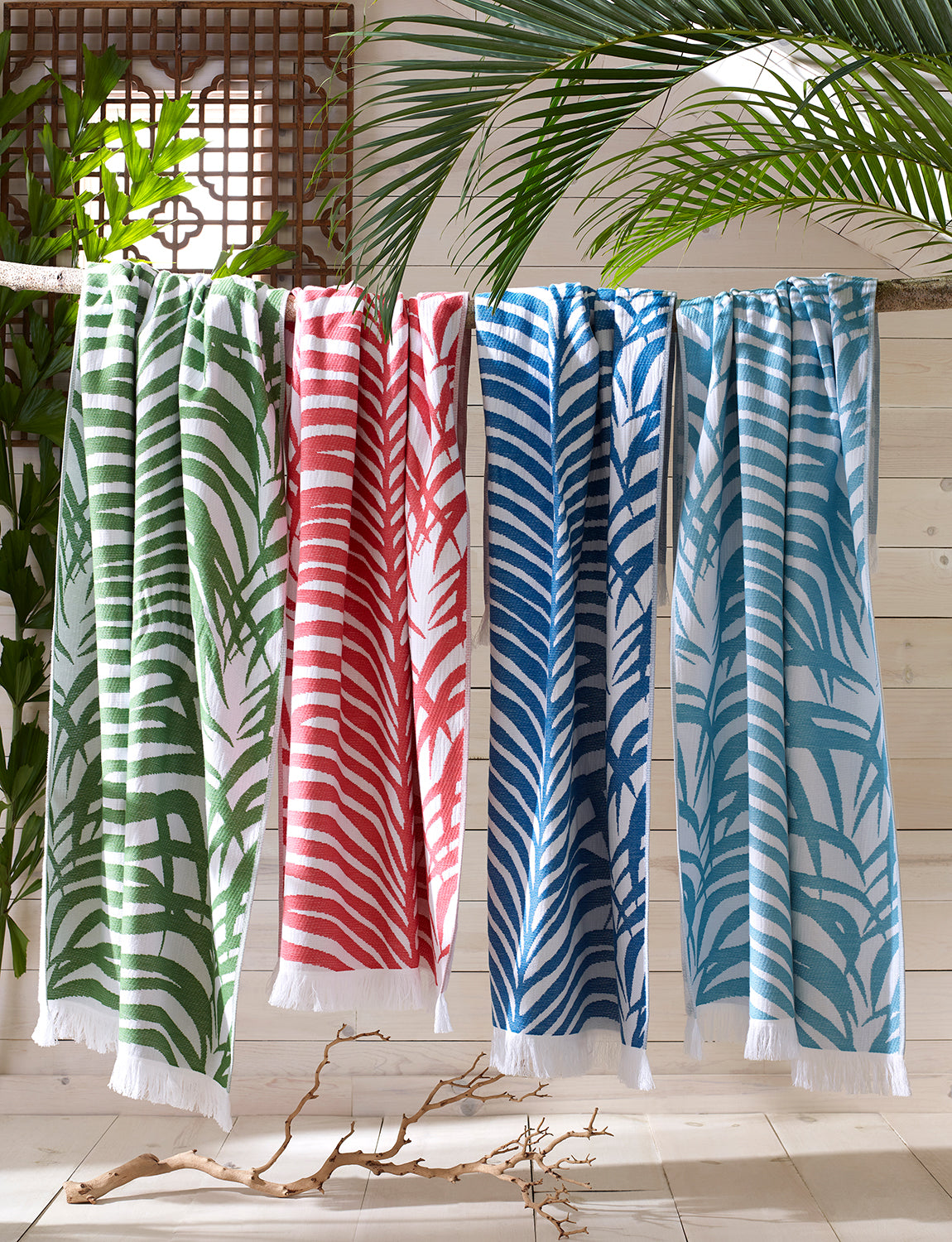 Matouk Zebra Palm Beach Towel, Sea