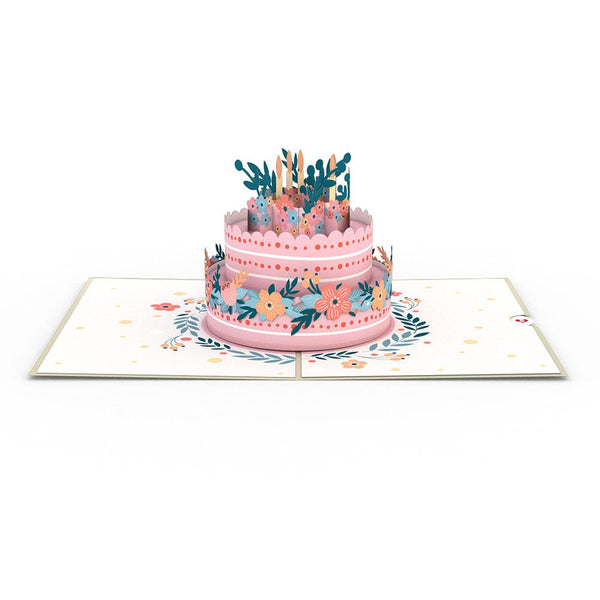 Pop Up Card, Floral Birthday Cake
