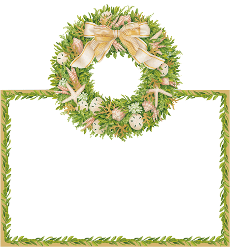 Shell Wreath Place Cards, Set of 8