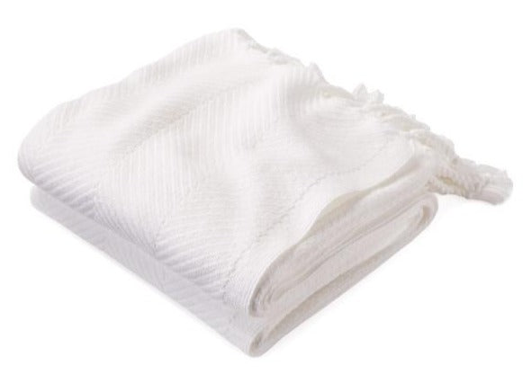 Brahms Mount Monhegan Throw, White