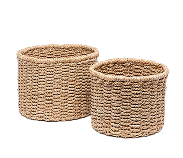 Pigeon & Poodle Yuma, Round Basket, Braided Seagrass, Large