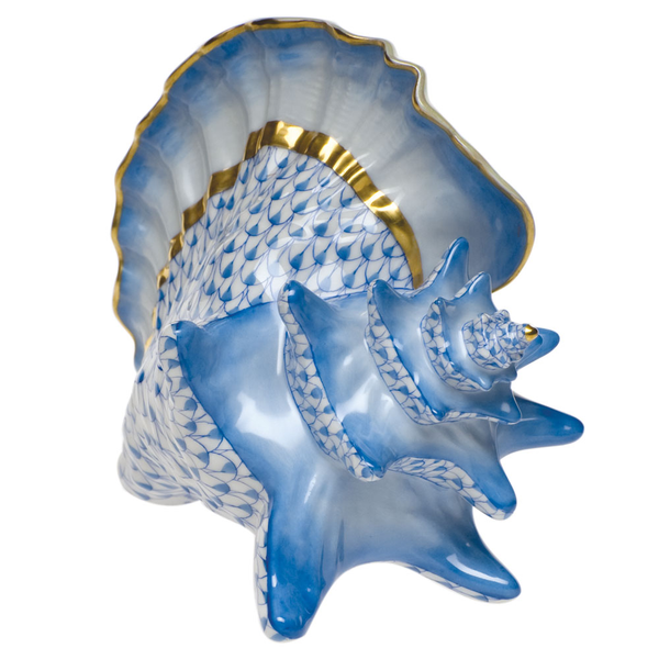 Herend Conch Shell, Blue