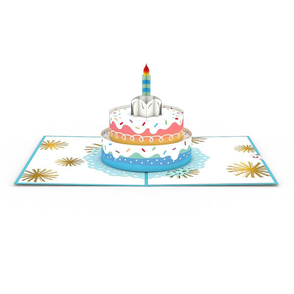 Pop Up Card, Rainbow Birthday Cake