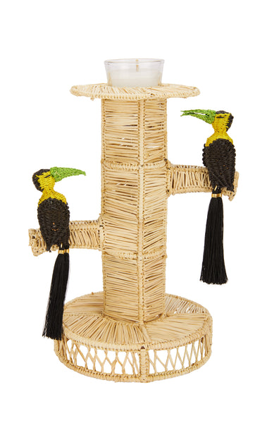 Raffia Toucan Candlestick Holder