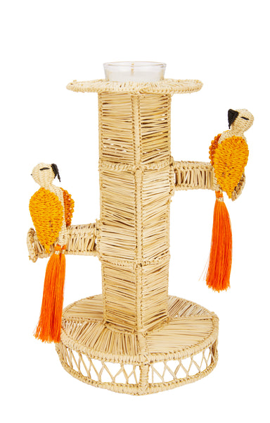 Raffia Cockatoo Candlestick Holder