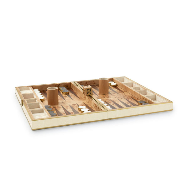 AERIN Cream Shagreen Backgammon Set