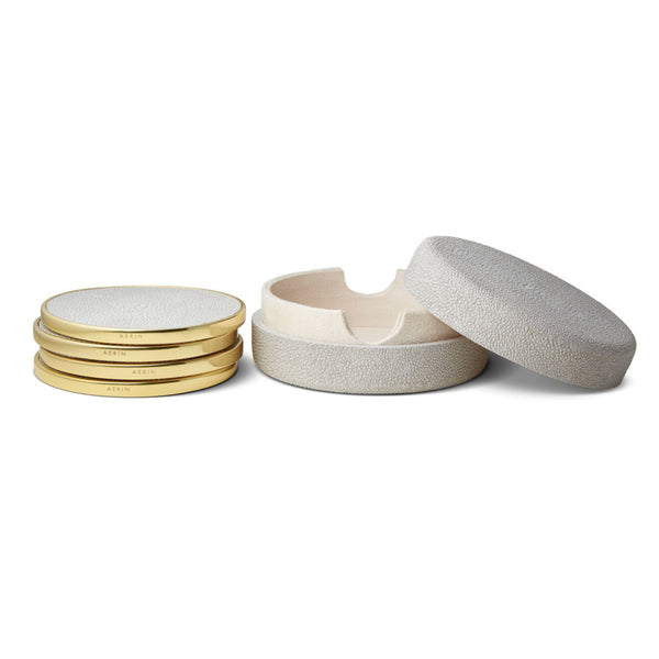 AERIN Dove Shagreen Coaster Set