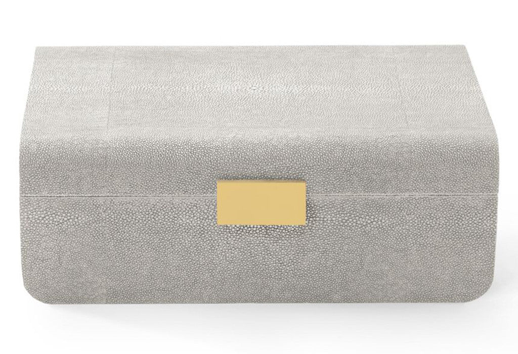 AERIN Modern Shagreen Large Jewlery Box, Dove