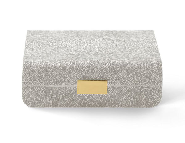 AERIN Modern Shagreen Small Jewlery Box, Dove