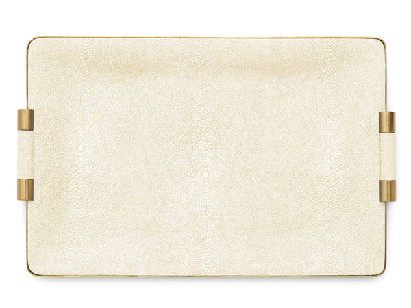 AERIN Shagreen Cream Vanity Tray, Medium