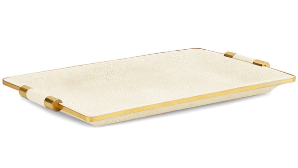 AERIN Shagreen Cream Vanity Tray, Small
