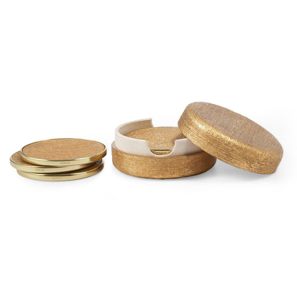 AERIN Gold Linen Coasters Set