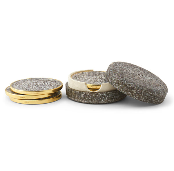 AERIN Chocolate Shagreen Coaster Set