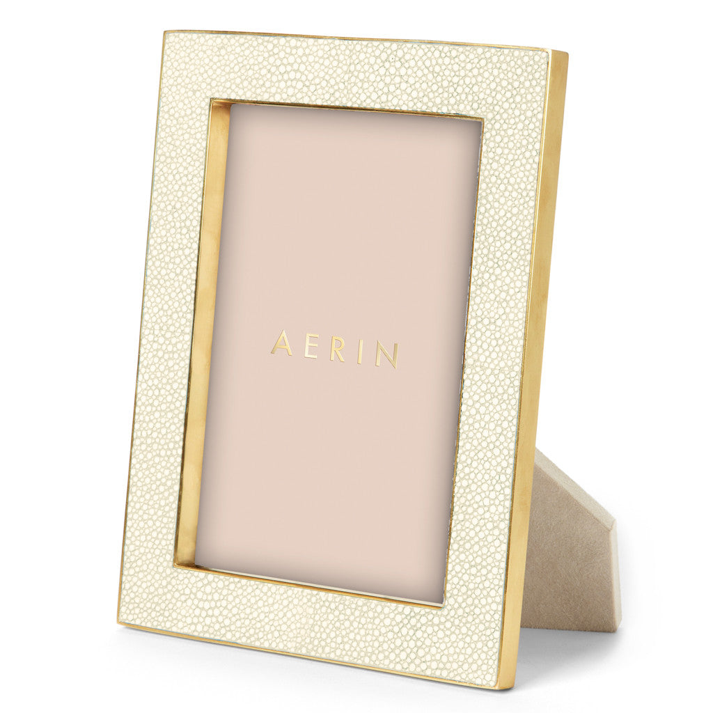AERIN Shagreen Frame in Cream, 5X7