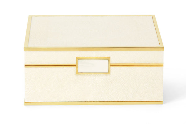 AERIN Cream Shagreen Jewelry Box, Small