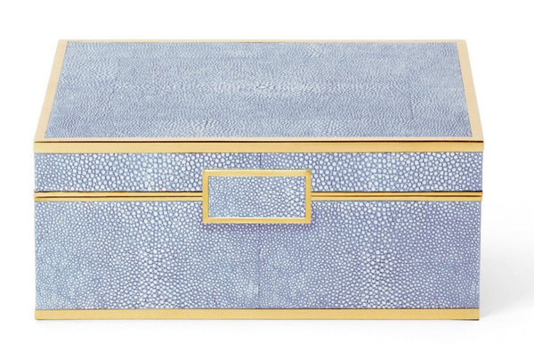 AERIN Blue Shagreen Jewelry Box, Small