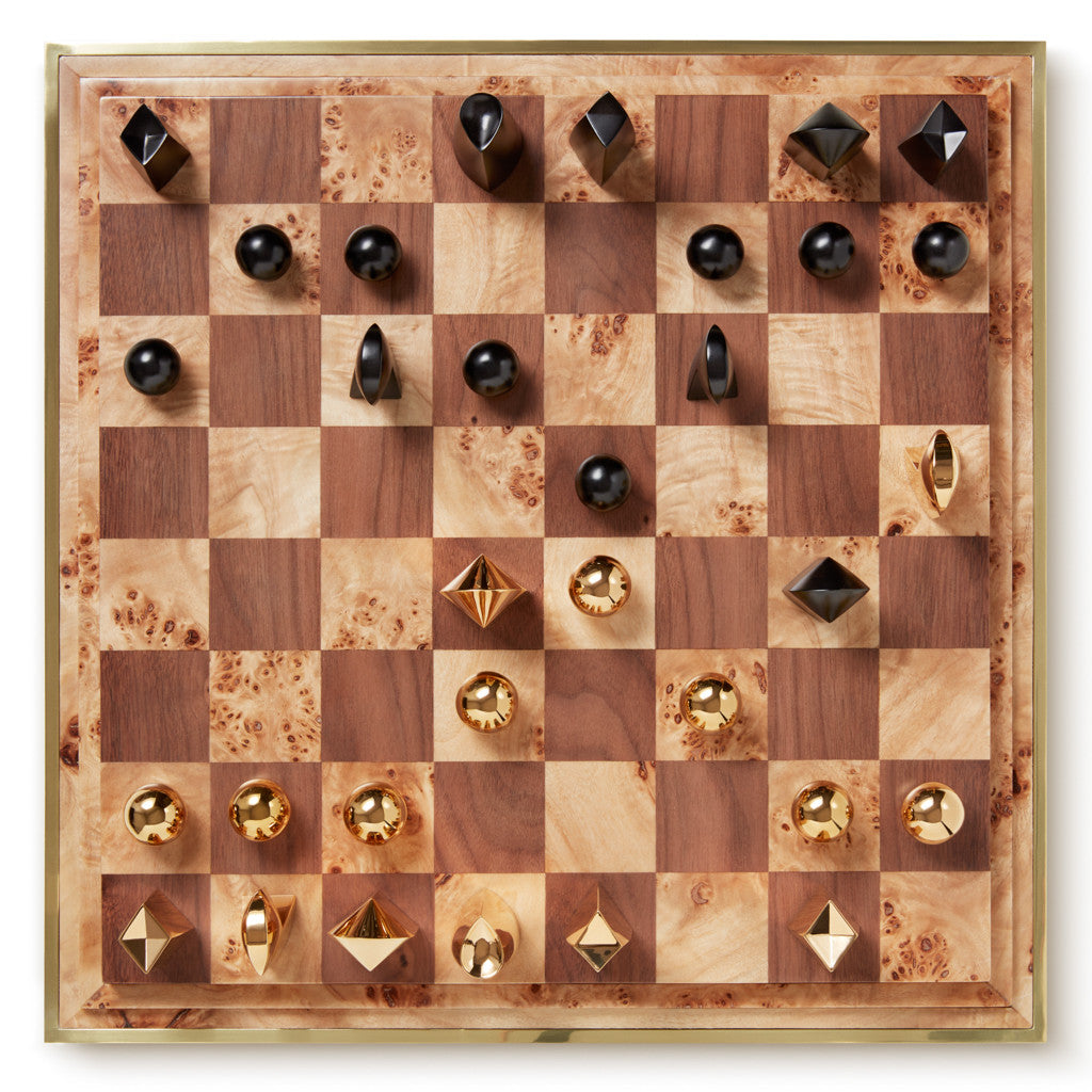 AERIN Cream Shagreen Chess Set